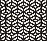 Vector Seamless Black and White Geometric Tiling Pattern Line Isometric Grid
