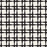 Vector Seamless Black and White Geometric  Rounded Rectangle And Circles Grid Pattern