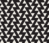 Vector Seamless Black and White Geometric Triangle ZigZag Line Tiling Pattern