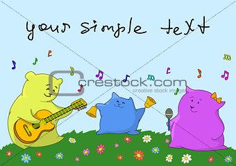 Cartoon toy animals musicians