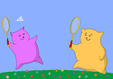 Cartoon animals playing badminton