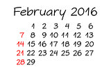 February Year 2016 Calendar Handwritten