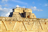 Detail of ancient Mayan architecture in Uxmal archeological site