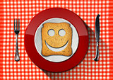 Happy Breakfast Concept - Smiling Rusk