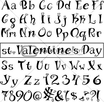 Font of hearts. Isolated on white background.