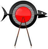 Sushi - Symbol with Fish and Chopsticks