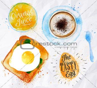 Breakfast toast egg juice