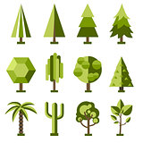 Vector set stylized tree