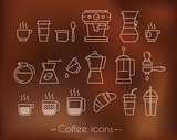 Coffee icons with brown