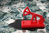 Red Pumpjack And Spilled Oil Over Russian Rubles