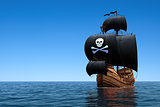 Pirate Ship In Blue Ocean