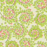 Cute seamless pattern with berries and leaves