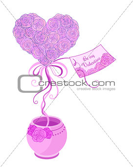 Small spring tree  topiary with  pink roses  and ribbons in violet pot.