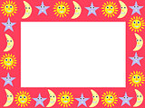 frame with cartoon characters of sky
