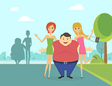 Fat man with his thin girlfriends in the park
