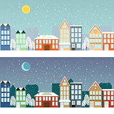 Winter sityscape at night and at day