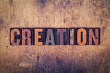 Creation Concept Wooden Letterpress Type