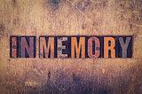 In Memory Concept Wooden Letterpress Type