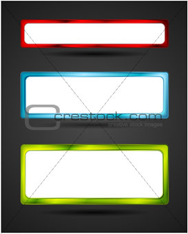 Blank white banners with bright frame
