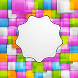Colorful squares background and retro label