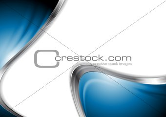 Abstract blue smooth design with metal waves
