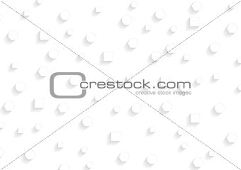 Abstract white geometrical shapes. Vector tech background