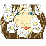 face of the girl in flowers