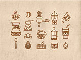 Set coffee icons brown