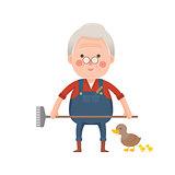 Senior Farmer with Ducks, Cartoon Character