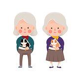 Senior Women Holding Cat, Cartoon Character