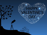 Happy Valentines day Romantic starry sky