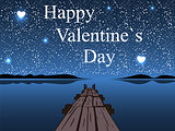 Happy Valentines day night water sky heart star