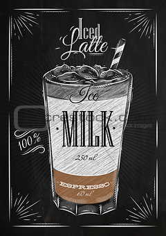 Poster iced latte chalk