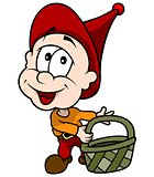 Red Little Elf With Basket