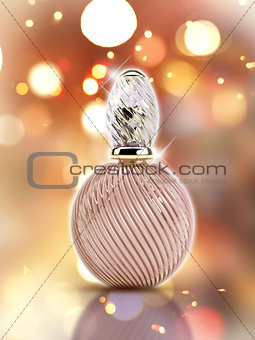 3D decorative perfume bottle on a bokeh lights background
