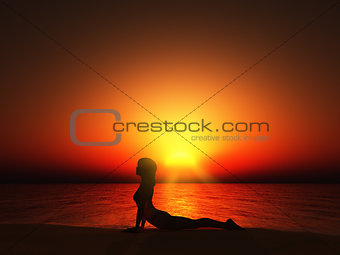 3D female against sunset sky in yoga pose