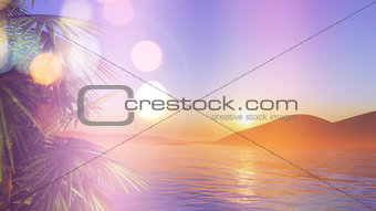 3D palm trees at sunset with retro effect