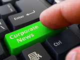 Corporate News Concept. Person Click Keyboard Button.