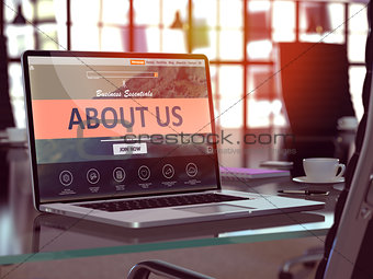 About Us Concept on Laptop Screen.