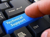 Finger Presses Blue Keyboard Button Technical Support.