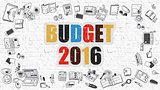 Budget 2016 Concept with Doodle Design Icons.