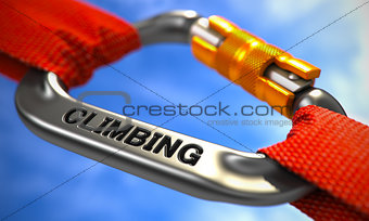 Chrome Carabiner with Text Climbing.