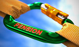 Pension on Green Carabiner between Orange Ropes.