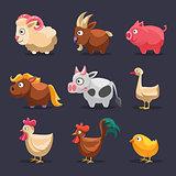 Vector Illustration of Farm Animals