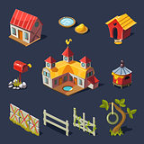 Farm Big Set of Design Elements in Modern Flat style.