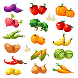 Fruits and Vegetables. Organic Food Icons Vector