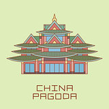 Buddist Pagoda white line drawn vector illustration