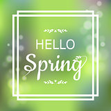 Hello Spring green card design with a textured abstract background and text in square frame