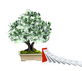 Money tree with euro banknotes and domino effect