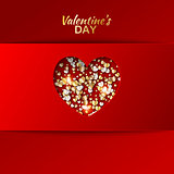Gold hearts valentine day greeting red card